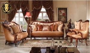Mumbai Maharaja Style Teak Wood Carved Sofa Set