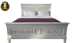 Munnar French Style Carved White Bed