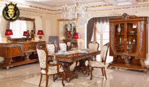 Noida Classic Style Walnut Color Dining Room Furniture