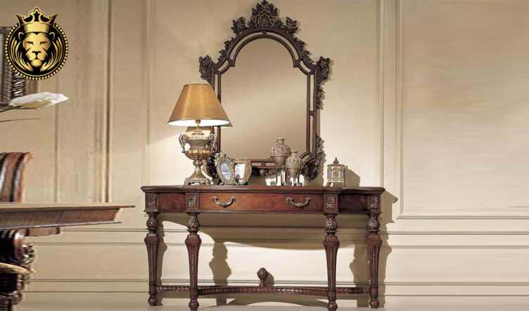 Romaniya French Style Hand Carved Mirror with Console