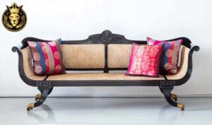 Victoria British Colonial Style Teak Wood Sofa