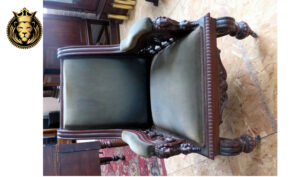 Antique Style Dark Walnut Finish Carved Arm Chair