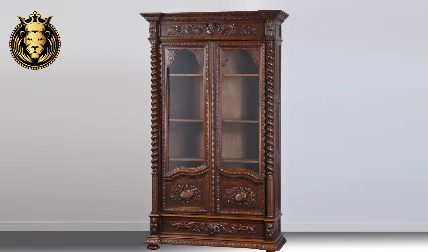Antique Style Walnut Color Hand Carved Bookcase