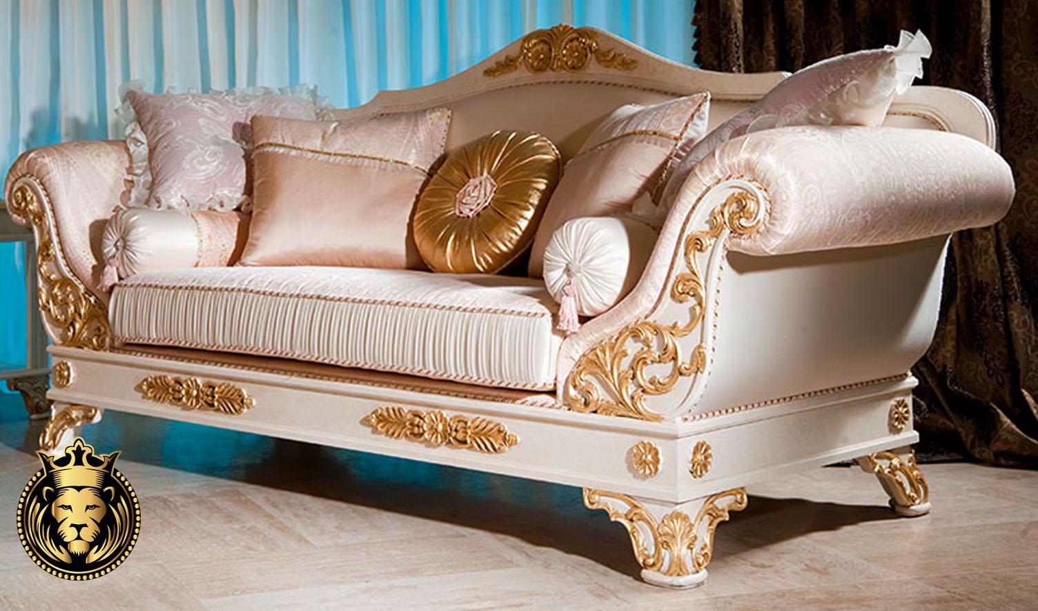 Aurangabad Classic Style White and Gold Luxury Sofa Set