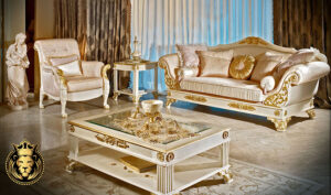 Aurangabad Classic Style White and Gold Luxury Sofa Set