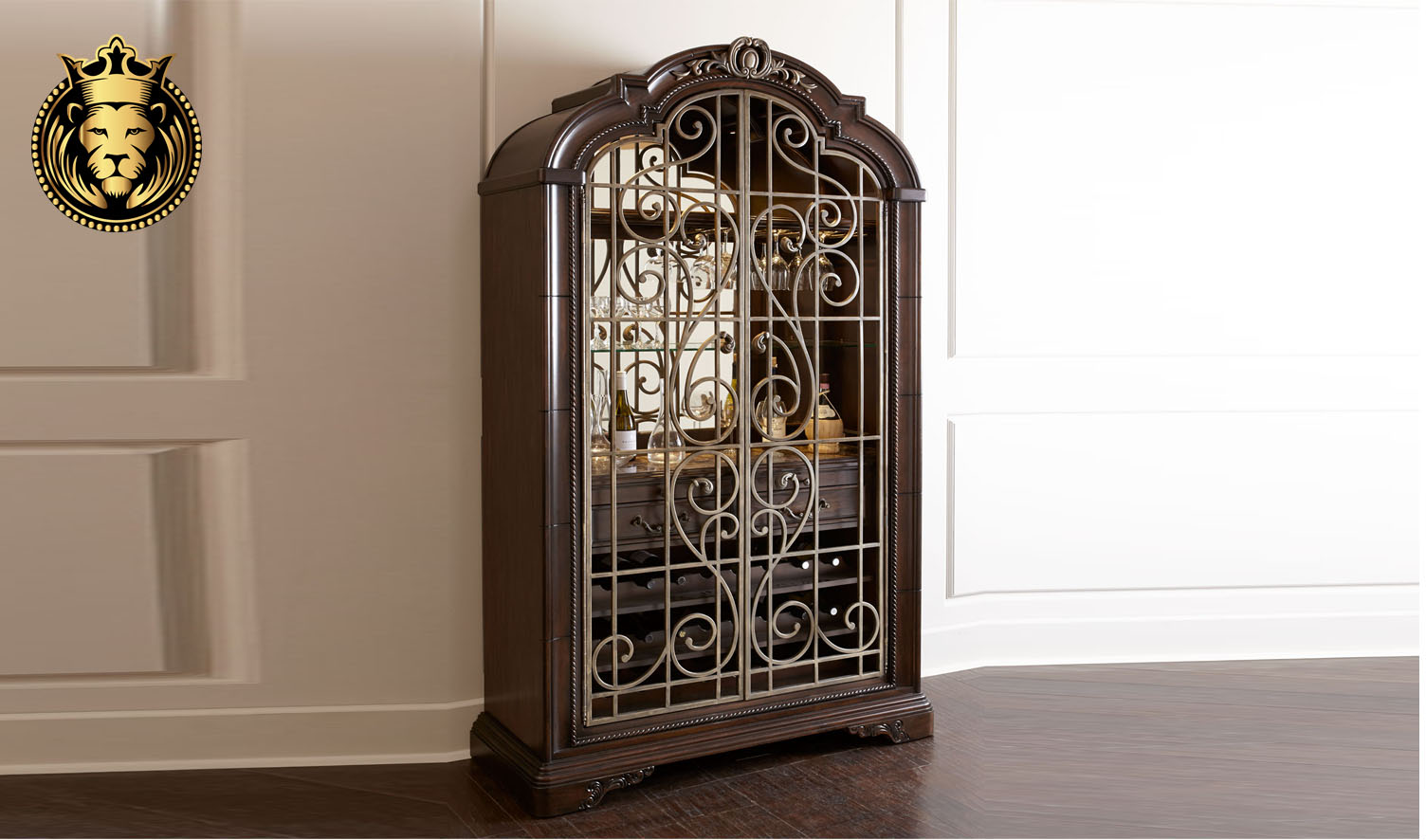 Beautiful European Antique Style Carved Wine Cabinet