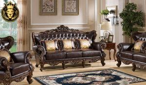 Chandrabha Antique Style Dark Walnut Finish Sofa Set