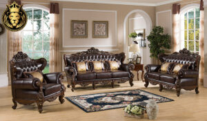 Chandrabha Antique Style Dark Walnut Finish Sofa Set