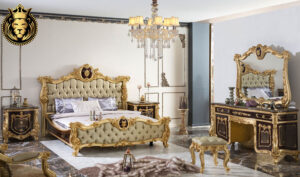 Dehradun Classic Style Royal Golden Bedroom Set
