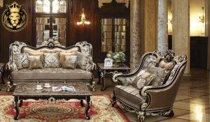 Ekathva European Style Walnut and Golden Sofa SetEkathva European Style Walnut and Golden Sofa Set