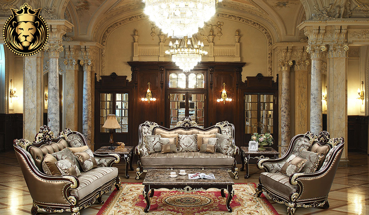 Ekathva European Style Walnut and Golden Sofa Set