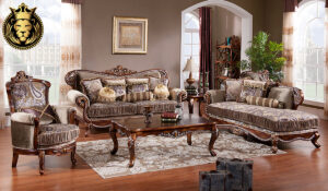Erisha Antique Style Hand Carved Cherry Finish Sofa Set