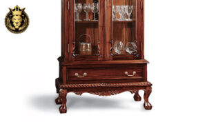 French Crafted Hand Carved Chippendale 2 Door Showcase