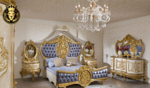 Greater Noida Classic Style Royal Golden Bedroom Set