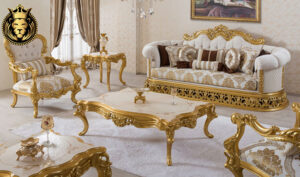 Indian Classic Style Royal Gold Leaf Living Room Furniture