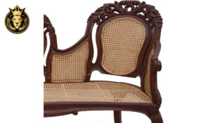 Indian Classic Style Teak Wood Leaf Carving Sofa