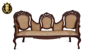 Indian Classic Style Teak Wood Leaf Carving Sofa