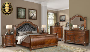 Keertana Teak Wood Sleigh Bedroom Set Collection