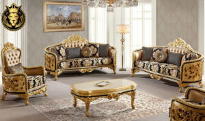 Kolhapur Classic Style Royal Golden Luxury Sofa Set
