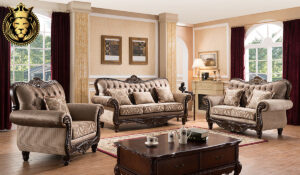 Nandita Antique Style Walnut Sofa Set