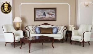 Panvel Classic Style Teak Wood Luxury Sofa Set