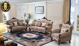 Raaina Antique Style Hand Carved Tufted Sofa Set