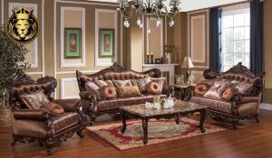 Roshawna Antique Style Hand Carved Sofa Set