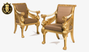 Royal Luxury Gold Leaf Gilded Arm Chairs