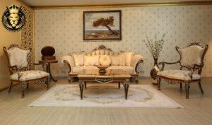 Sangli Classic Style Walnut and Silver Luxury Sofa Set