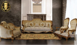 Triveni European Style Antique Golden Finish Sofa Set
