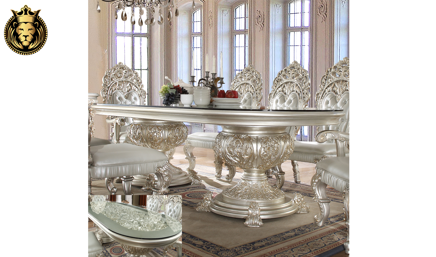 Amarillo European Style Hand Carved Dining Set