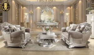 Charlotte European Style Carving Silver Sofa Set
