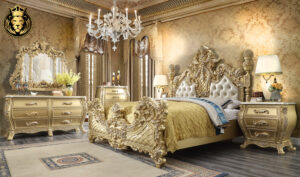 Cleveland European Style Hand Carved Bedroom Set 4