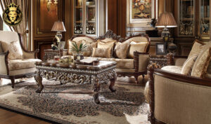 Columbus European Antique Style Hand Carved Sofa Set