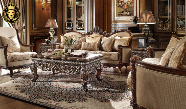 Columbus European Antique Style Hand Carved Sofa Set