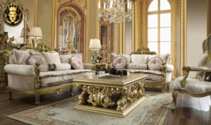 Fort Worth European Style Royal Golden Sofa Set