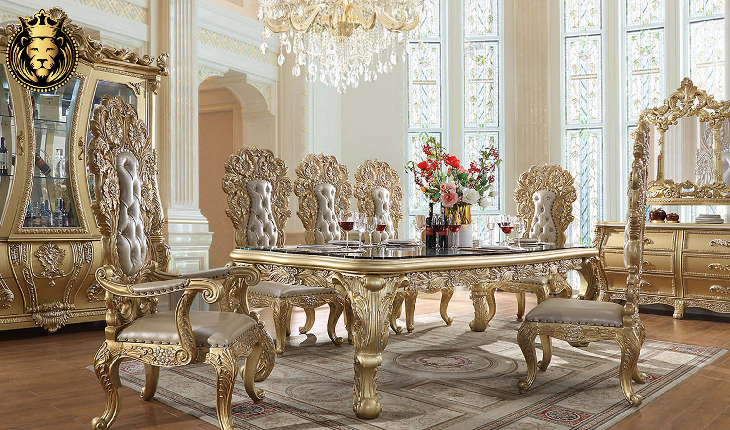 Glendale European Style Hand Carved Dining Set