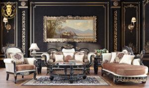 Minneapolis European Style Carved Royal Ebony Sofa Set