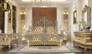 Plano Italian Style Hand Carved Royal Bedroom Set