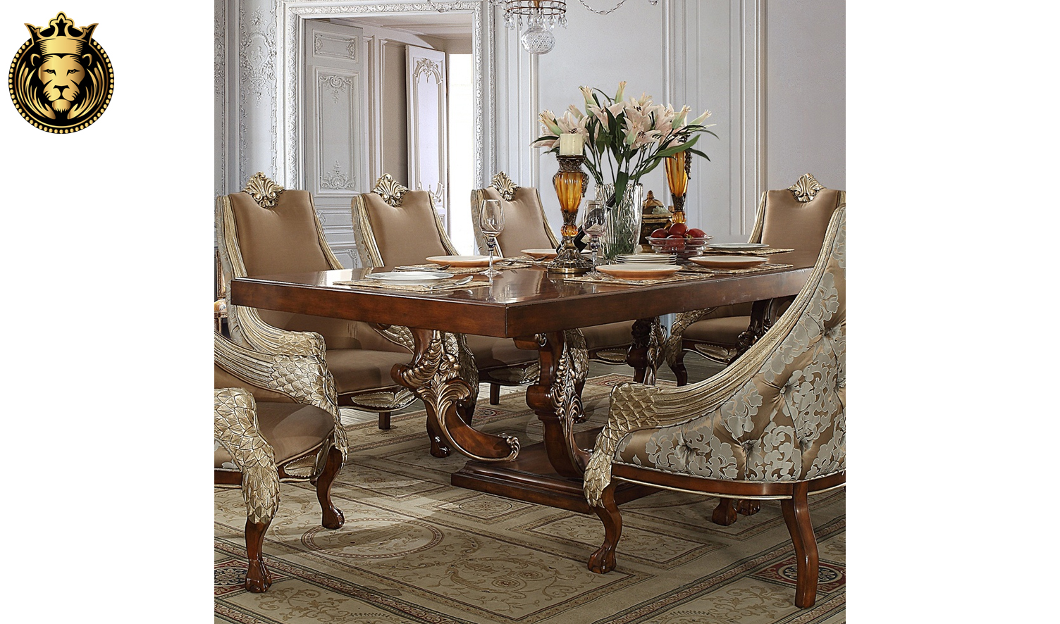 Reno Classic Style Hand Carved Dining Set