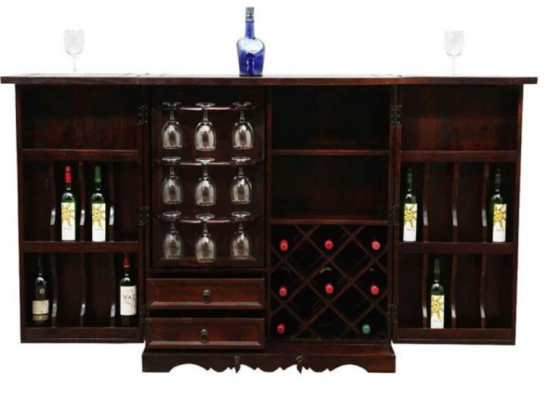 Handcrafted Brass Inlay Wooden Bar Unit Brand Royalzig